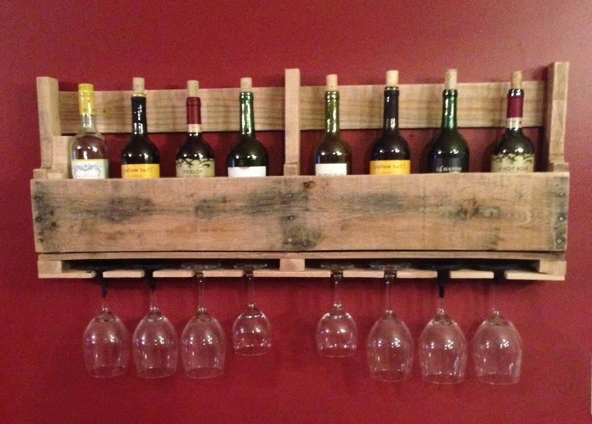 Estante de madera de palet para botellas de vino - Brico Rico